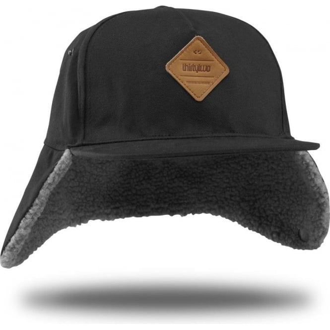 Thirtytwo  Wilhelm 5 Panel Flat Cap - Black