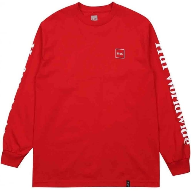 HUF  Domestic Long Sleeved T - Shirt - Red