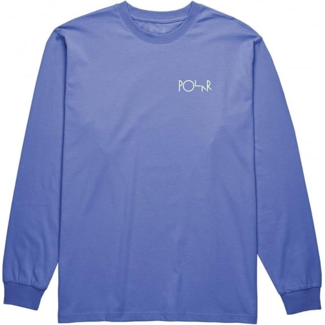 Polar  Script Logo Long Sleeve T-Shirt - Baja Blue