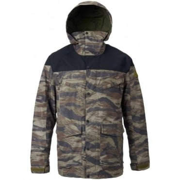 Burton Breach Snowboard Jacket - True Black/Olive Branch Worn Tiger