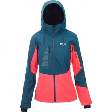 Picture Seen Women's Jacket - Petrol Blue/Neon Coral