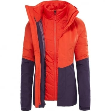 The North Face Garner Tri Women's Jacket - Fire Brick Red/Dark Eggplant Purple