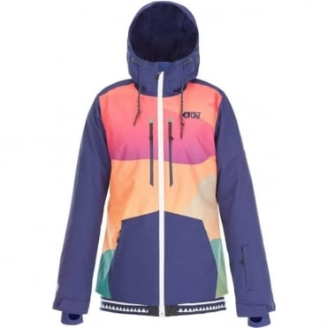 Picture Lander Print Women's Jacket - Orange Print/Dark Blue